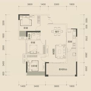 长10米宽9米两房一厅设计图
